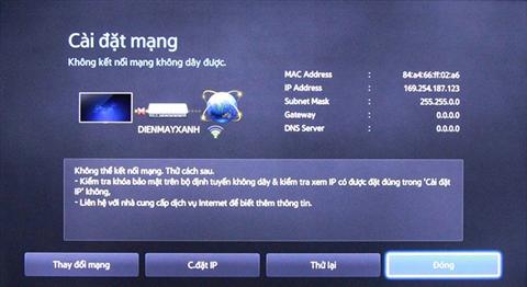 Xử lý Tivi Sony không kết nối mạng được
