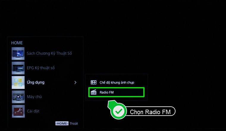 Nhấn chọn Radio FM trong Ứng dụng