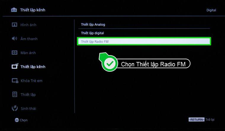 Chọn thiết lập Radio FM trong cửa sổ của Thiết lập kênh