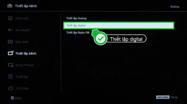 Chọn Thiết lập digital