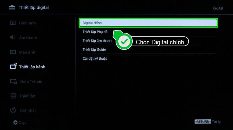 Nhấn chọn Digital chính