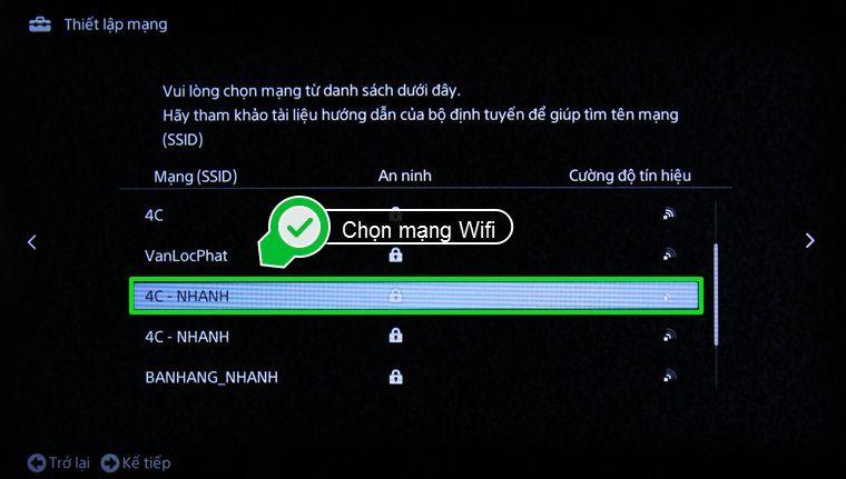 Chọn mạng wifi
